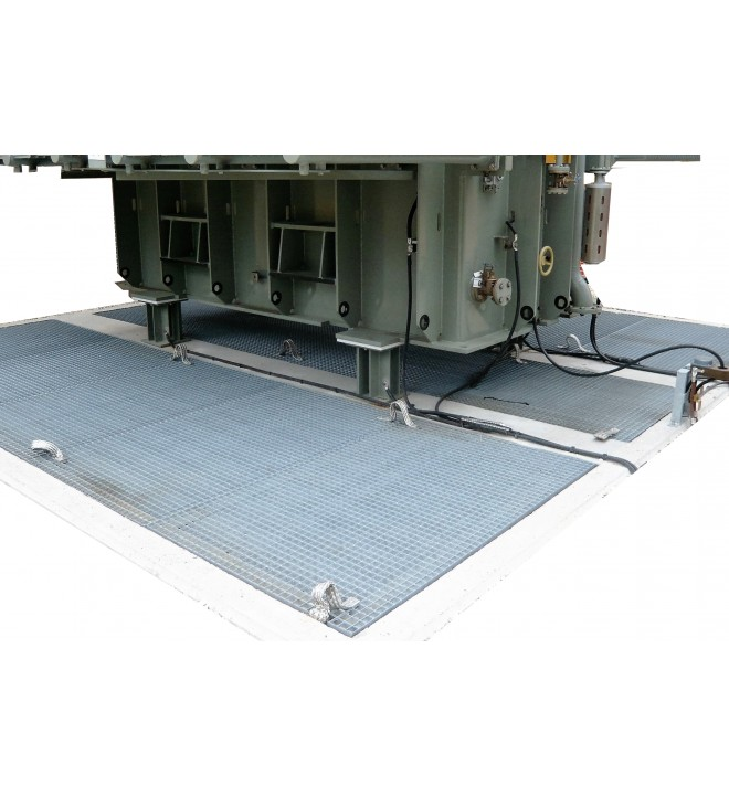 Extinguishing cover for transformer pit EXTICOV Frame based extinguishing cover for concrete pit in substations