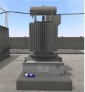 Plan interactif en trois dimensions en réalité virtuelle d'un poste de transformation équipé d'un bac de rétention