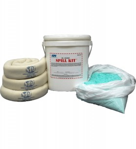 Absorption kit composed of OIL BOND cushions and a bag of solidifying particles