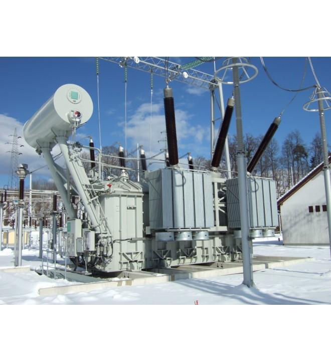 Transformateur KOLEKTOR ETRA triphasé avec changeur de prises 300 MVA-400 kV, TS Okroglo, ELES, Slovénie, 2013