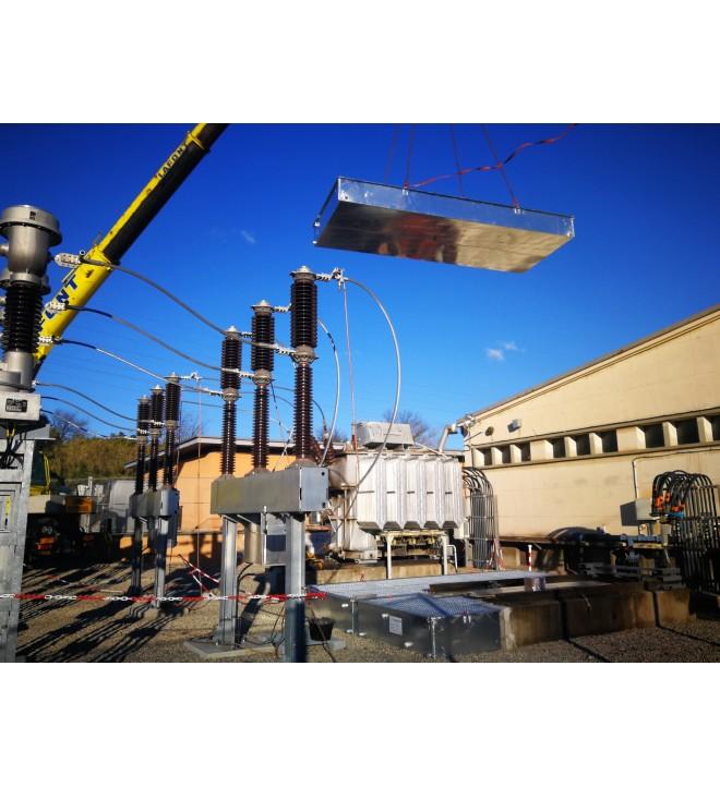 Cubeto de retención en varias partes para la subestación transformador levantado con una grúa SANERGRID