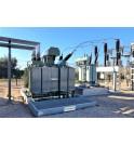 Transformador de potencia en el cubeto de retención TRT SANERGRID con rejilla antideslizante