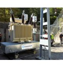 Outdoor installation of a transformer on a retention tank with rolling system ERT SANERGRID