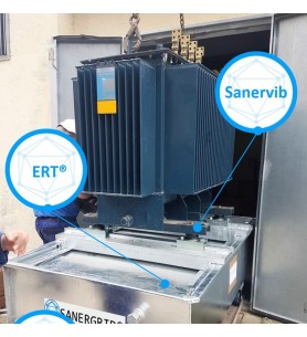 extinguishing retention tank ERT with SanerVib noise reduction system for transformer