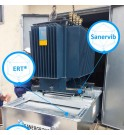 ERT bin with rolling and noise reduction system for Sanervib transformer