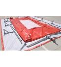 TRFLEX REFOR instalación del geotexril en el interior del depósito y montaje de la estructura metálica