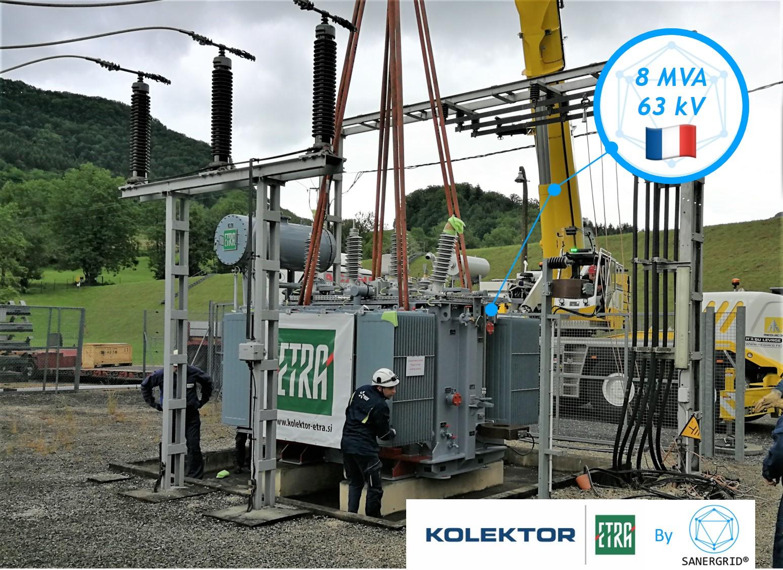 Transformateur/Transformateur de puissance à huile 8 MVA 63 KV France Kolektor ETRA par SANERGRID
