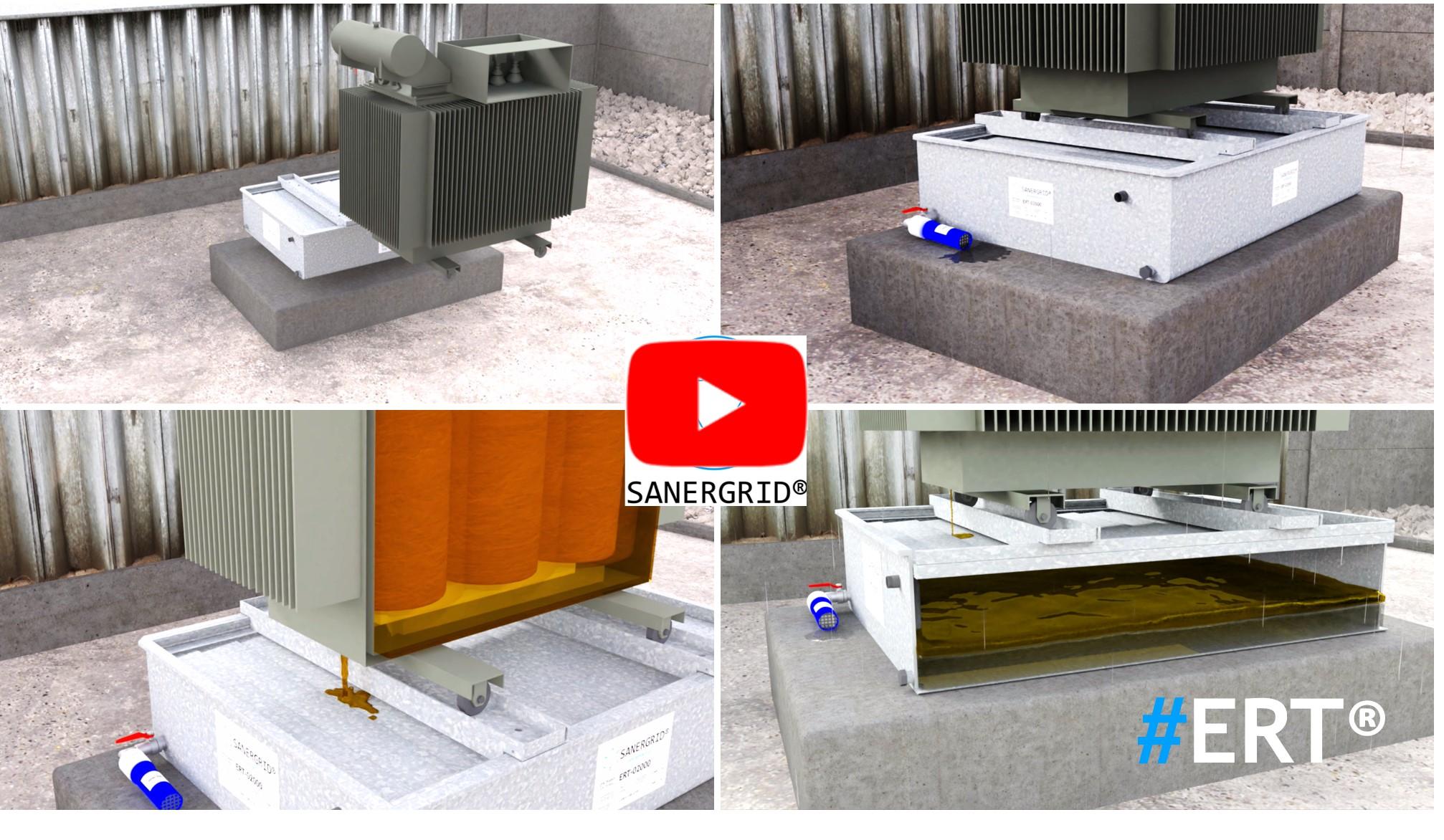 Bac de rétention pour transformateur anti feu ERT avec siphon et filtration eau de pluie et réalité virtuelle SANERGRID VIDEO
