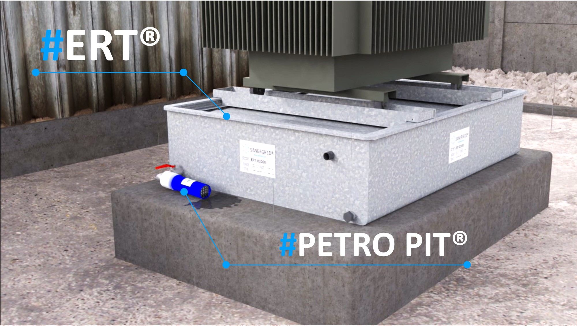 simulation 3D Transformateur a huile sur bac de rétention ERT equipé dun système davacuation des eaux de pluie PETRO PIT