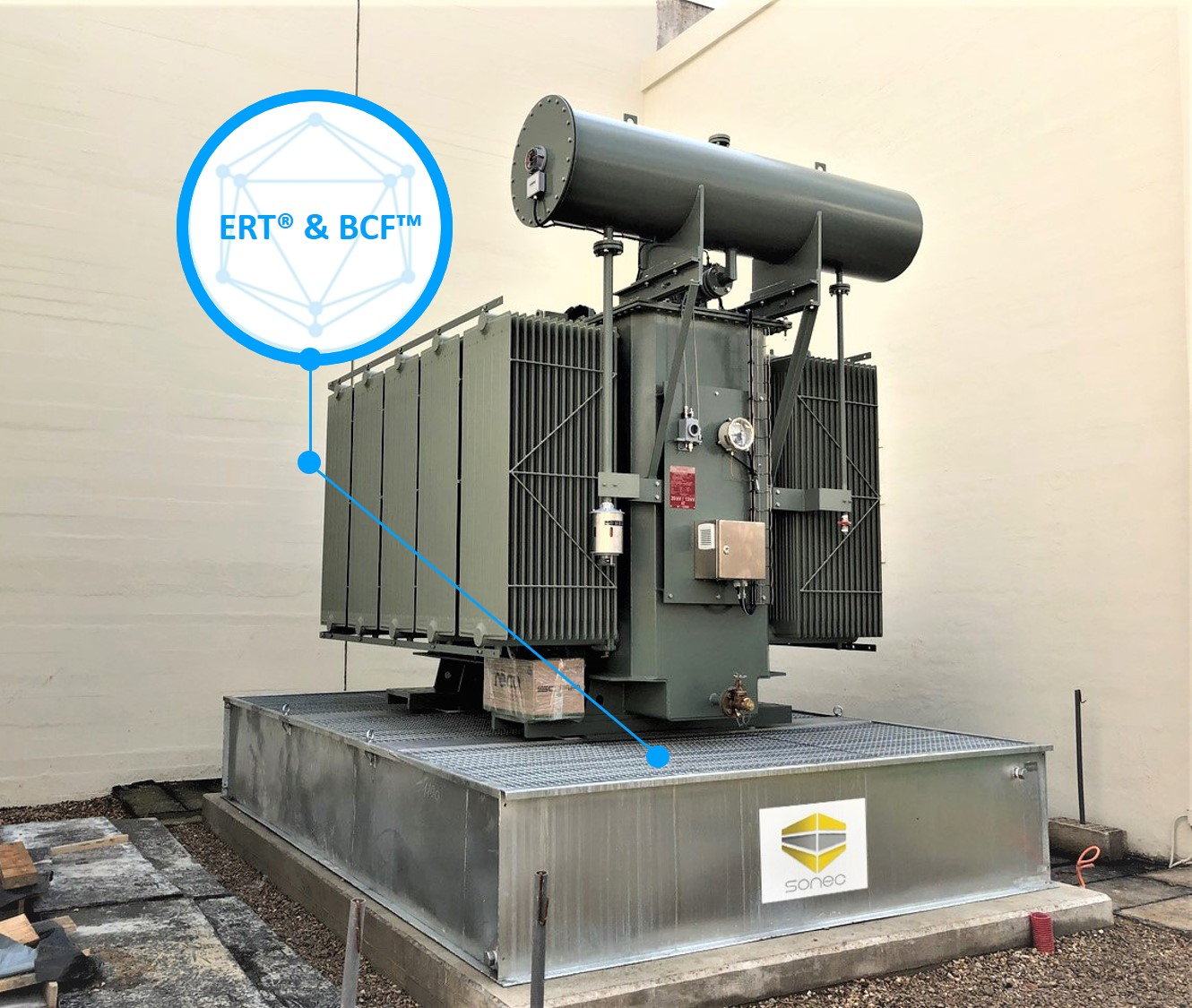 SANERGRID retention tanks for oil transformer with extinguishing system and rainwater filtration